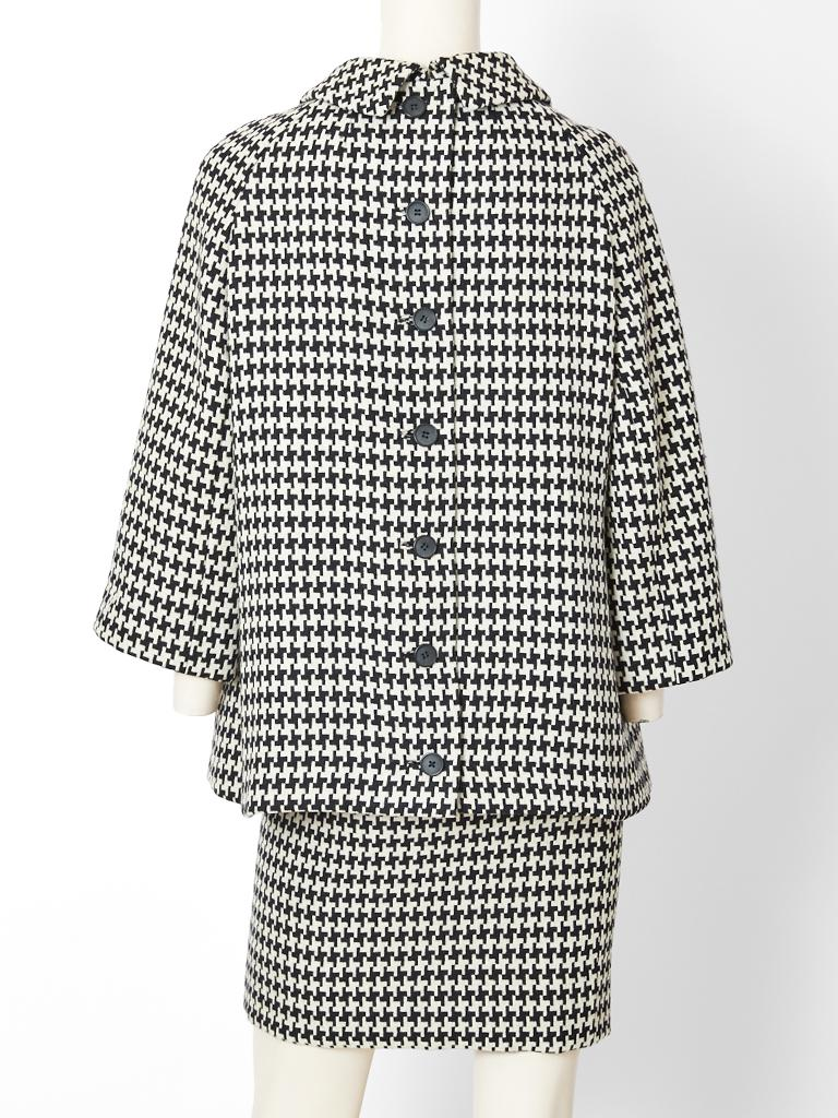 Gray Geoffrey Beene Houndstooth Pattern Tunic and  Skirt Ensemble For Sale