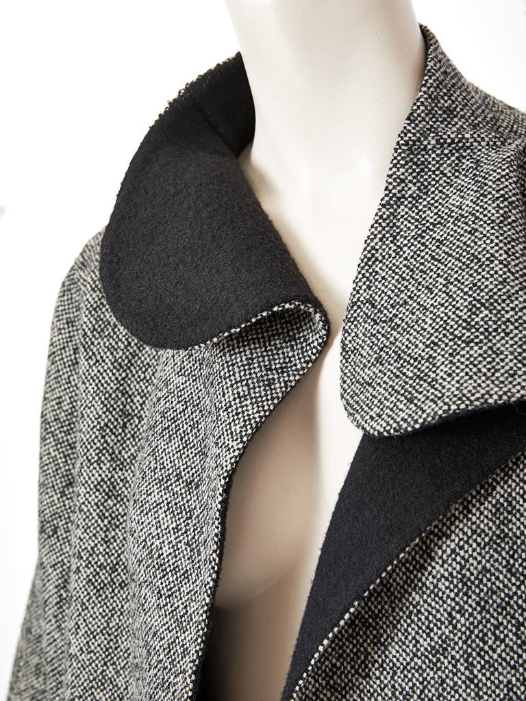 Gray Geoffrey Beene Tweed Maxi Coat For Sale