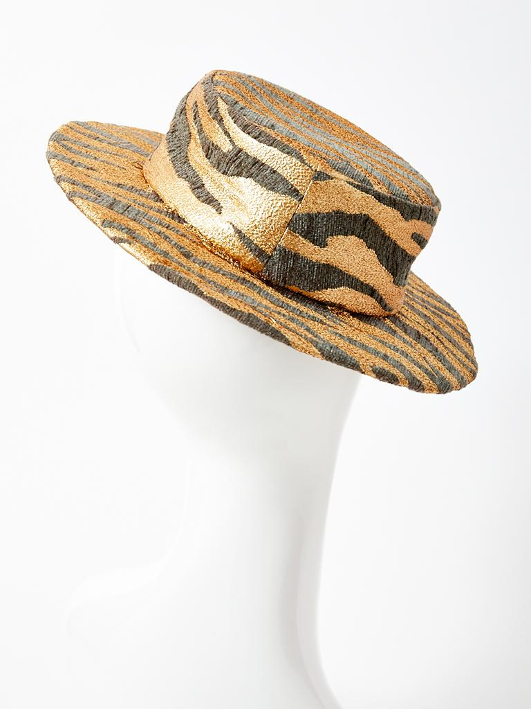 Brown Givenchy Animal Pattern Boater Hat For Sale