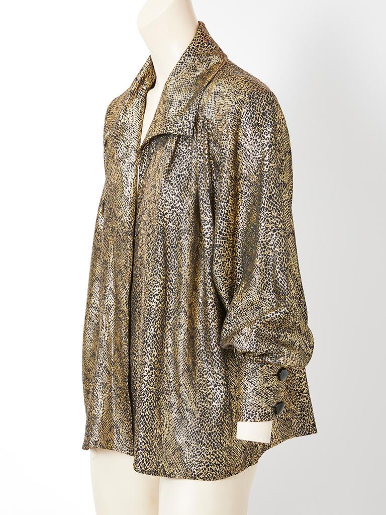 Brown Yves Saint Laurent Rive Gauche Gold Lame Jacket For Sale