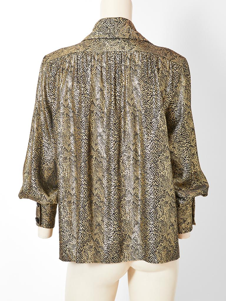 Yves Saint Laurent Rive Gauche Gold Lame Jacket In Excellent Condition For Sale In New York, NY