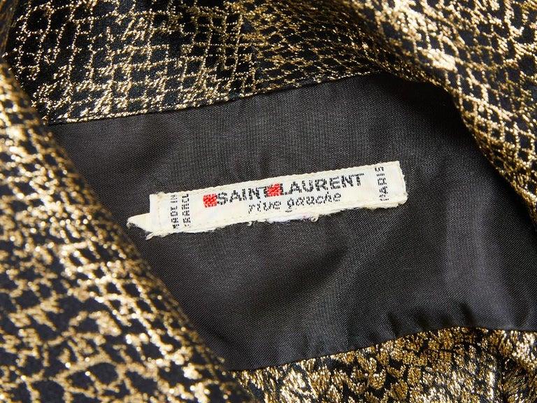 Women's Yves Saint Laurent Rive Gauche Gold Lame Jacket For Sale
