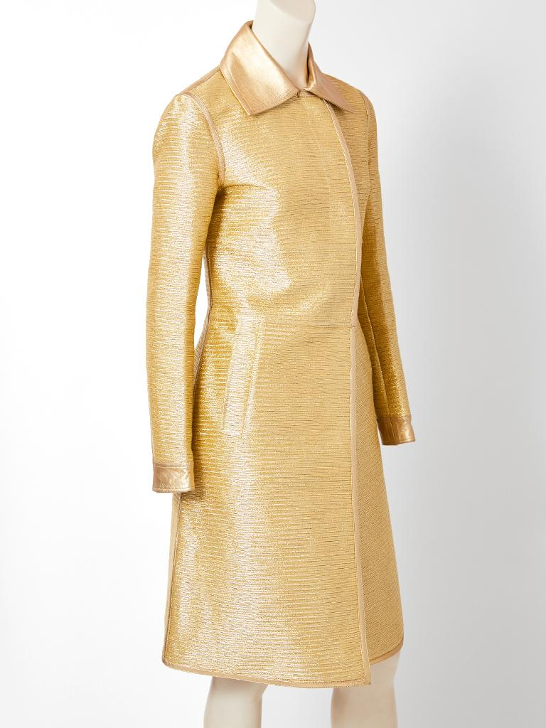 Tom Ford for Gucci, fitted, gold ottoman, coat having gold leather details. Leather details include a pointed collar, edging along the hem, front and cuffs. This is a runway piece.