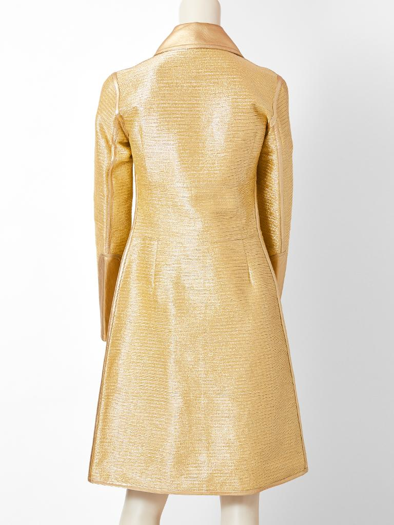Tom Ford for Gucci  Runway Gold Coat with Leather Detail For Sale 1