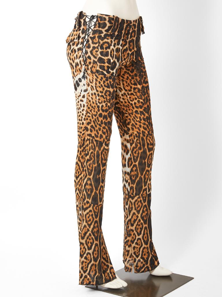 Tom Ford for Yves Saint Laurent, leopard pattern, silk chiffon,  flared pant  having lacing detail at the hips.