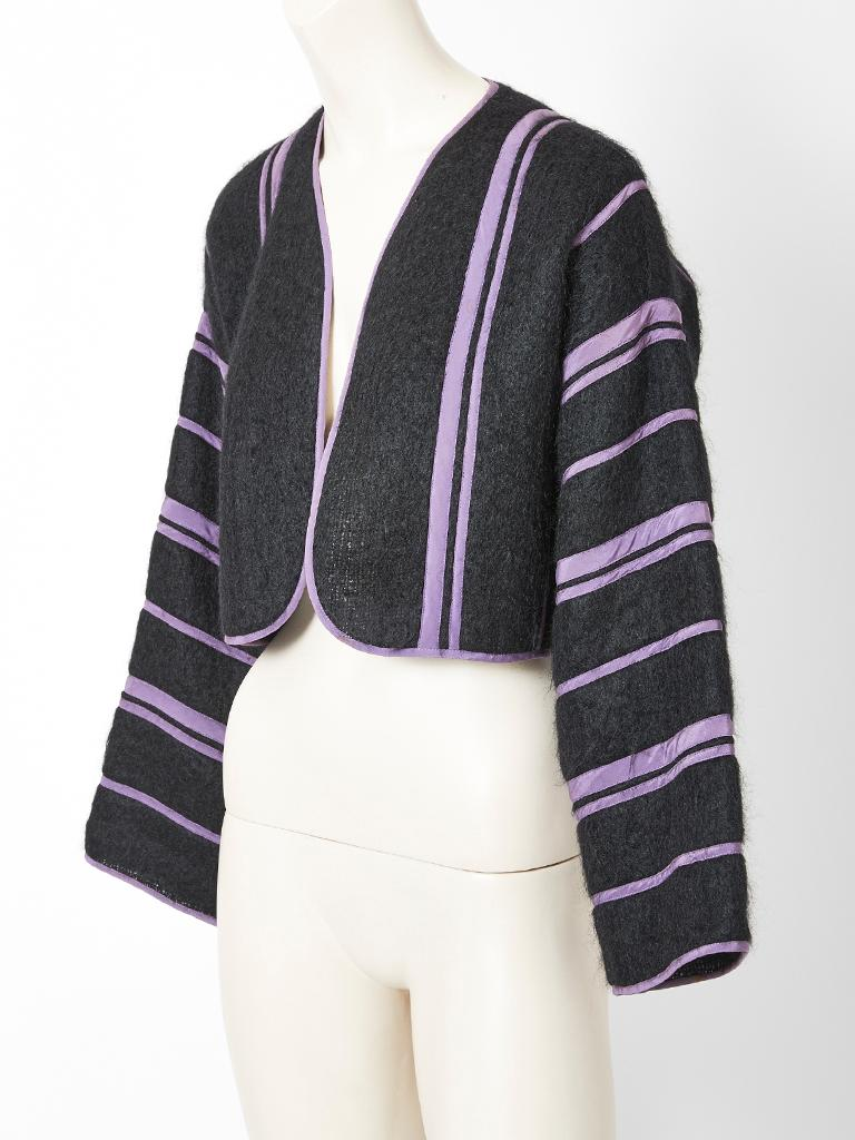 Geoffrey Beene, charcoal grey, mohair bolero having stripes in a silk lavender tone.