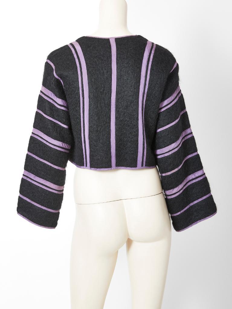 Black Geoffrey Beene Mohair Striped Bolero For Sale
