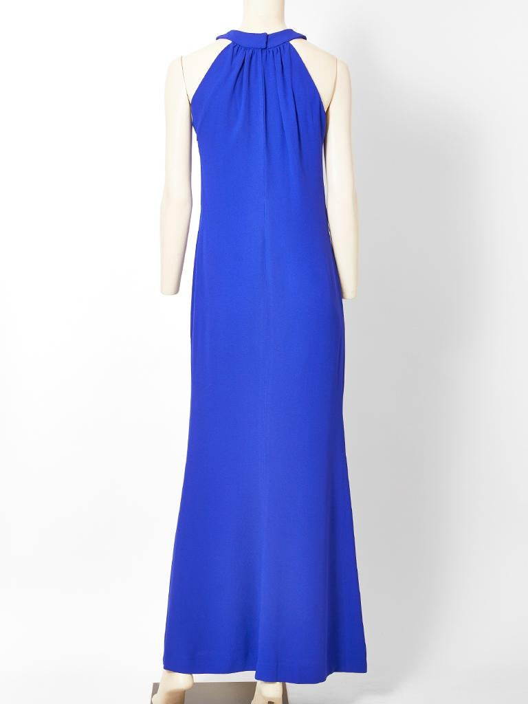 Blue Yvest Saint Laurent Rive Gauche Halter Neck Evening Gown For Sale