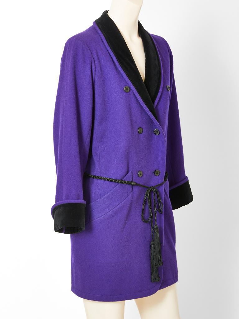 Purple wool and velvet Yves Saint Laurent , Rive Gauche, double breasted 3/4 coat, having a velvet shawl collar and cuffs,  and braided tassel belt.