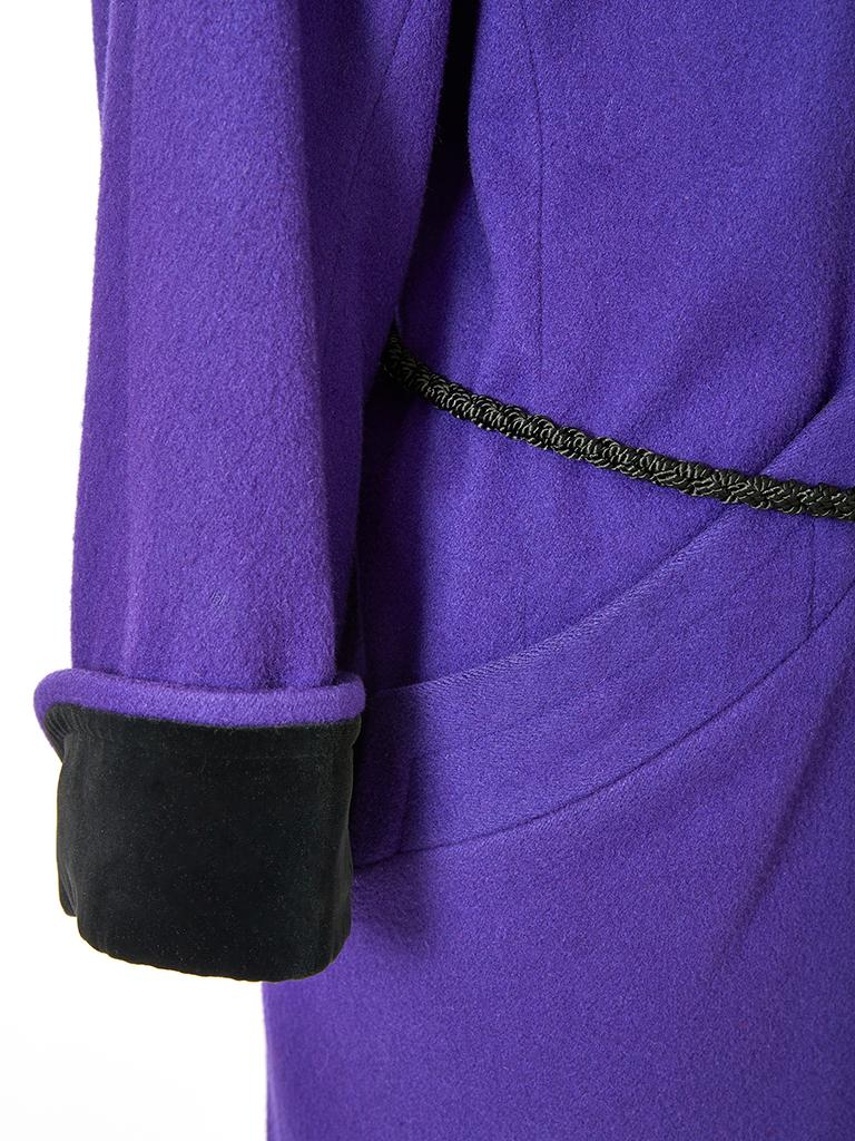 Purple Yves Saint Laurent Rive Gauche Double Breasted Wool and Velvet Jacket For Sale