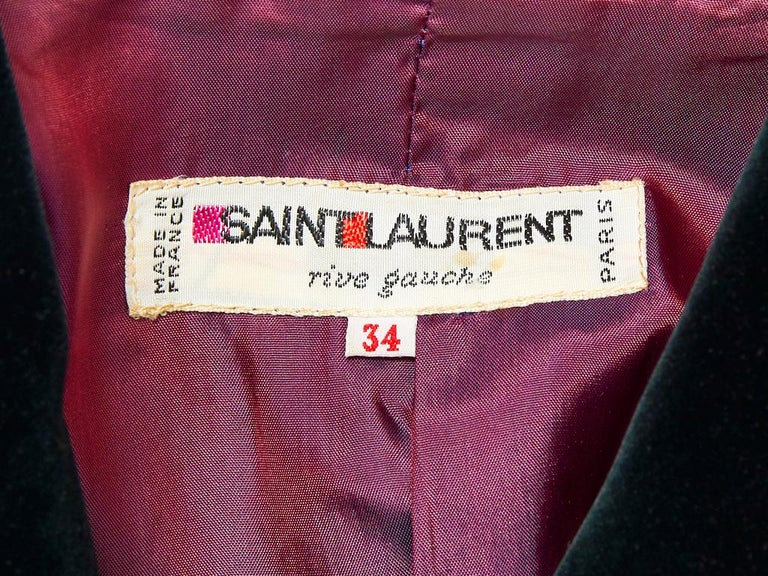 Yves Saint Laurent Rive Gauche Double Breasted Wool and Velvet Jacket For Sale 1