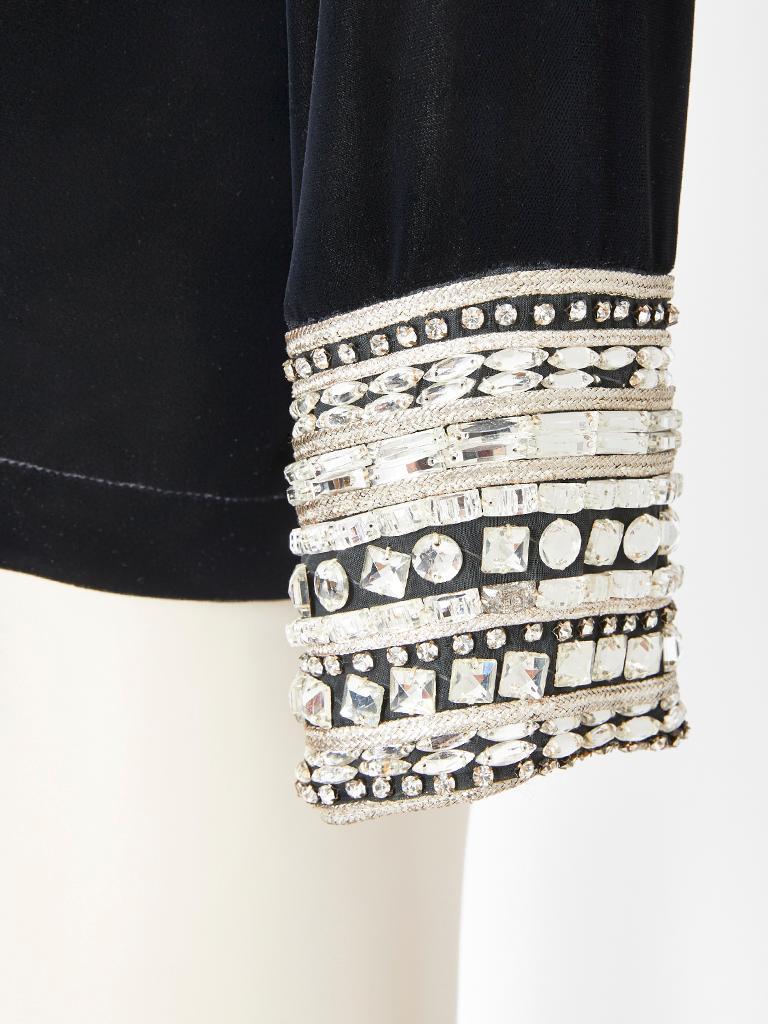 Black Yves Saint Laurent Velvet Top with Strass Embellishment For Sale