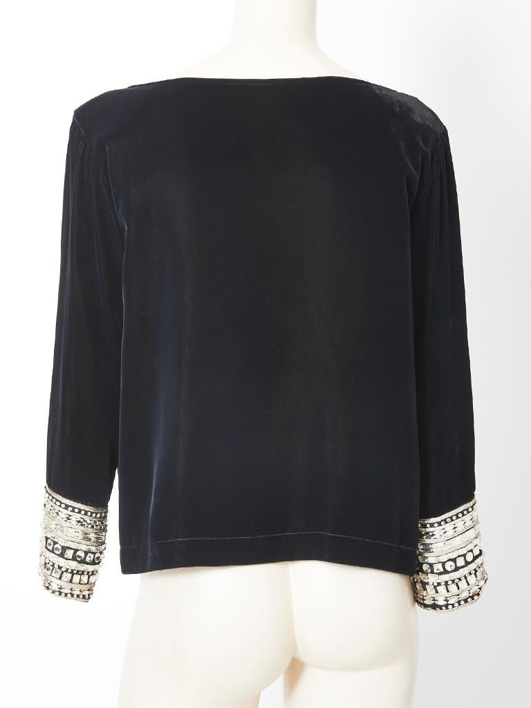 Yves Saint Laurent Velvet Top with Strass Embellishment In Good Condition For Sale In New York, NY