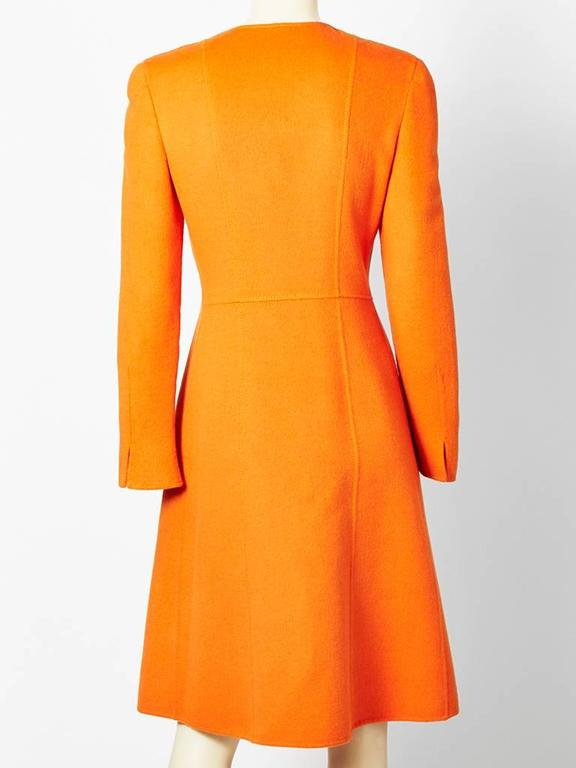 Orange Valentino Double Face Wool Fitted Coat For Sale