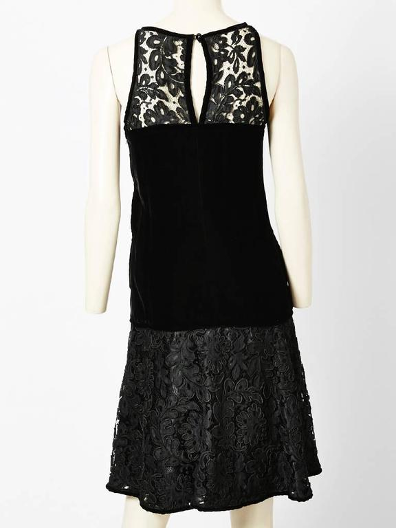 Black Yves Saint Laurent Lace and Velvet Cocktail Dress For Sale