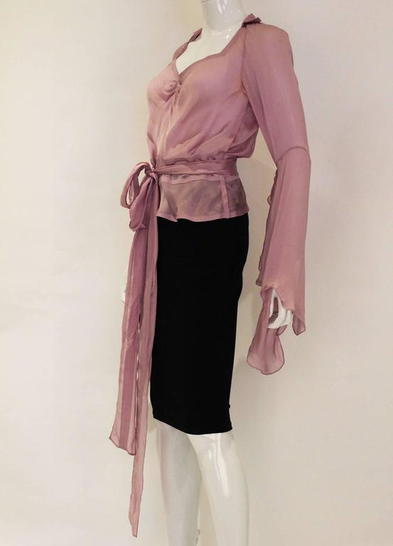 Brown 1990s YSL Lilac Silk Floaty Sleeved Blouse For Sale