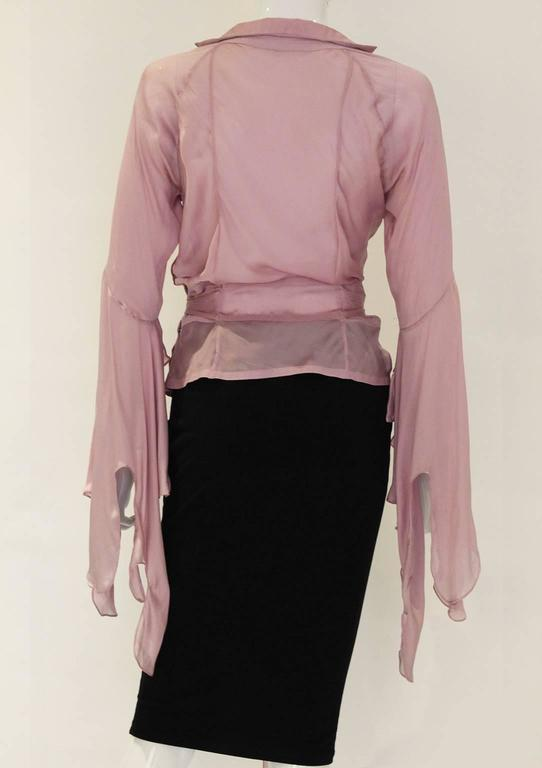 1990s YSL Lilac Silk Floaty Sleeved Blouse 6