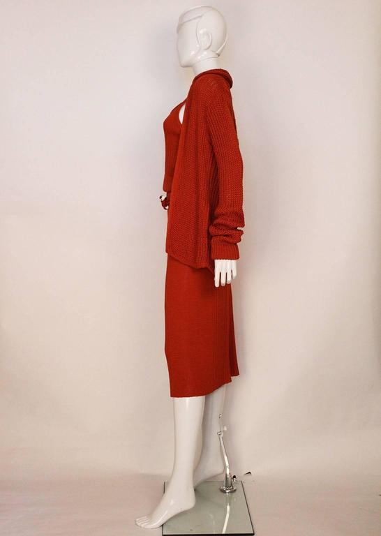 1990s Missoni Burnt Orange Knitted Three Piece Outfit. In Excellent Condition For Sale In London, GB
