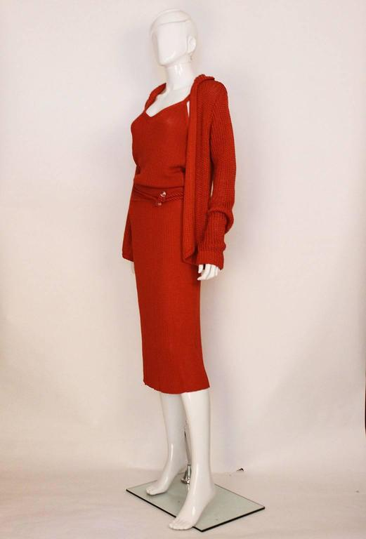 Red 1990s Missoni Burnt Orange Knitted Three Piece Outfit. For Sale