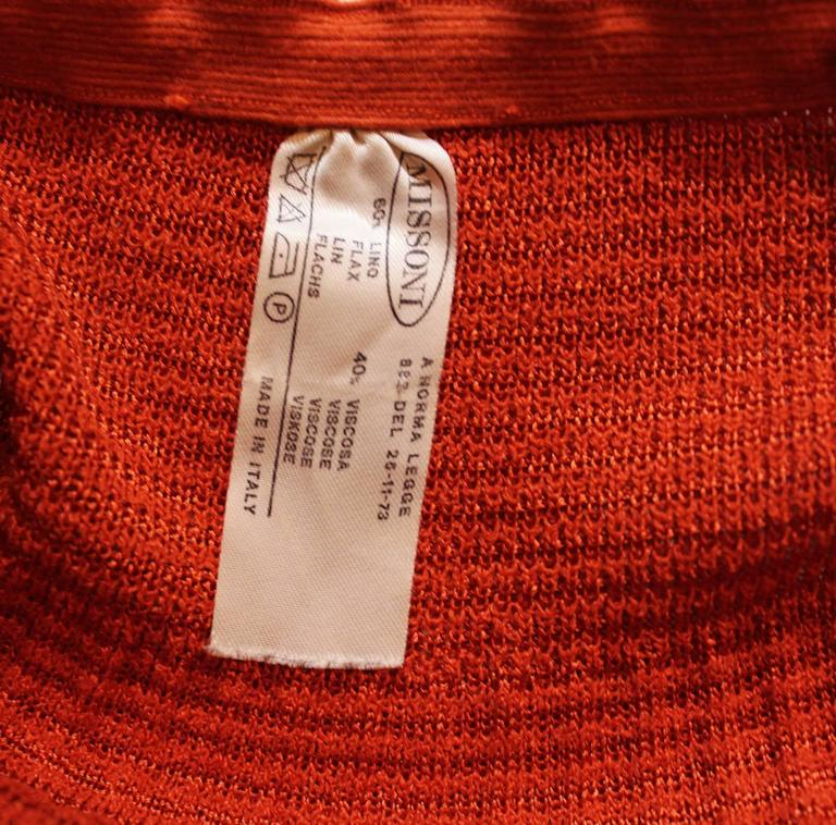 1990s Missoni Burnt Orange Knitted Three Piece Outfit. For Sale 5