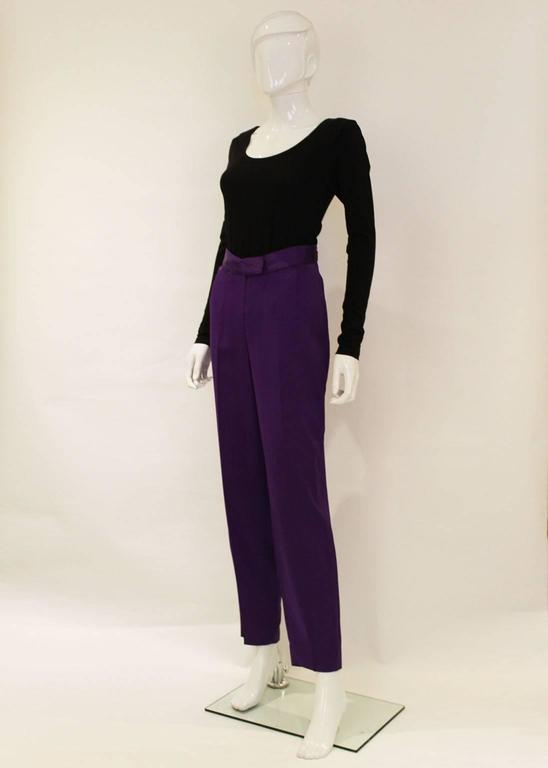 These trousers are a real head turner, in a regal purple colour and partly lined.
