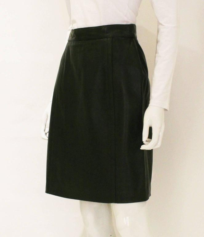 chic olive green leather skirt for sale at 1stdibs