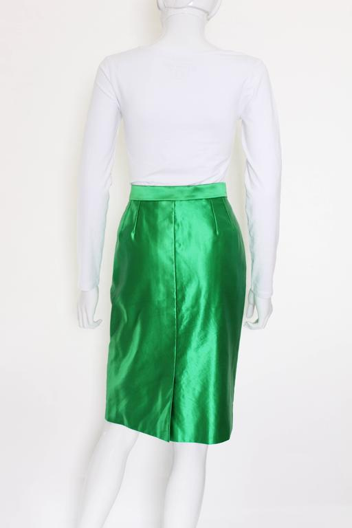 Green Yves Saint Laurent Variation Cotton and Silk mix Skirt For Sale