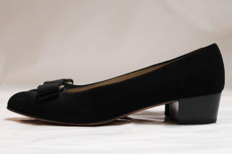 Salvatore Ferragamo Black Suede Pumps. 3