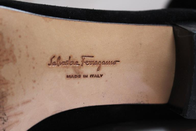Salvatore Ferragamo Black Suede Pumps. For Sale 3