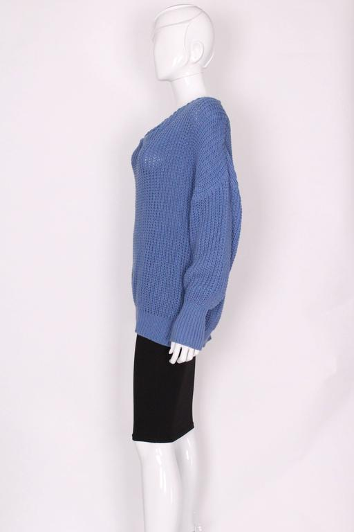 Women's 1980s Jean Muir Cornflower Blue Knitted Jumper For Sale