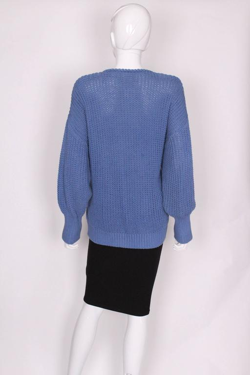 1980s Jean Muir Cornflower Blue Knitted Jumper For Sale 1