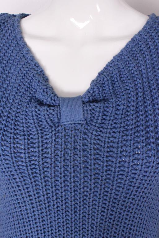 1980s Jean Muir Cornflower Blue Knitted Jumper For Sale 2