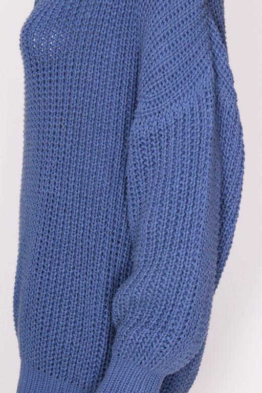1980s Jean Muir Cornflower Blue Knitted Jumper For Sale 3