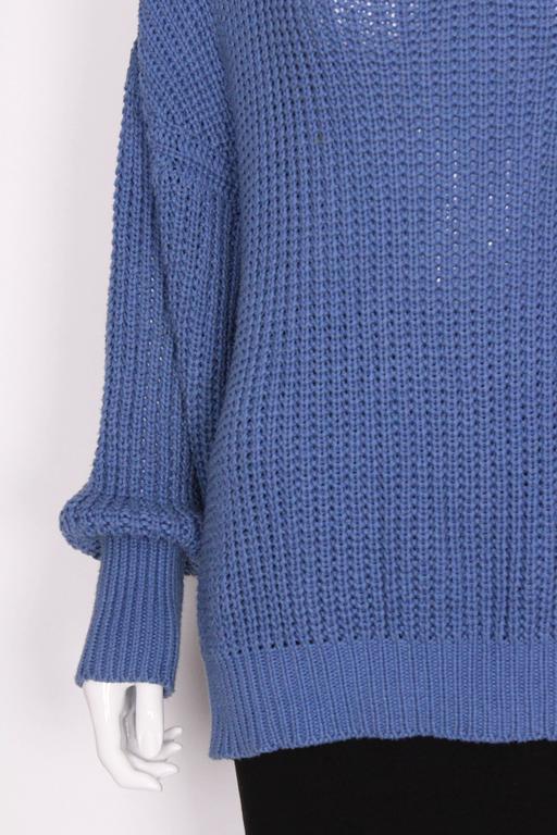 1980s Jean Muir Cornflower Blue Knitted Jumper For Sale 4