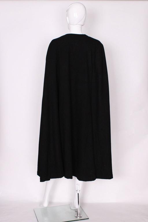 Black Wool Cape by Yves Saint Laurent Rive Gauche For Sale 1