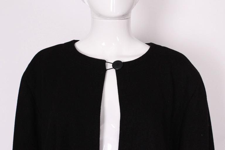 Black Wool Cape by Yves Saint Laurent Rive Gauche For Sale 2