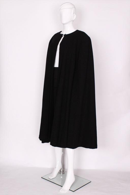 Black Wool Cape by Yves Saint Laurent Rive Gauche In Excellent Condition For Sale In London, GB