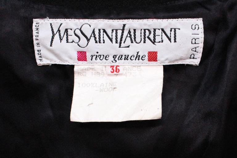 Black Wool Cape by Yves Saint Laurent Rive Gauche For Sale 4