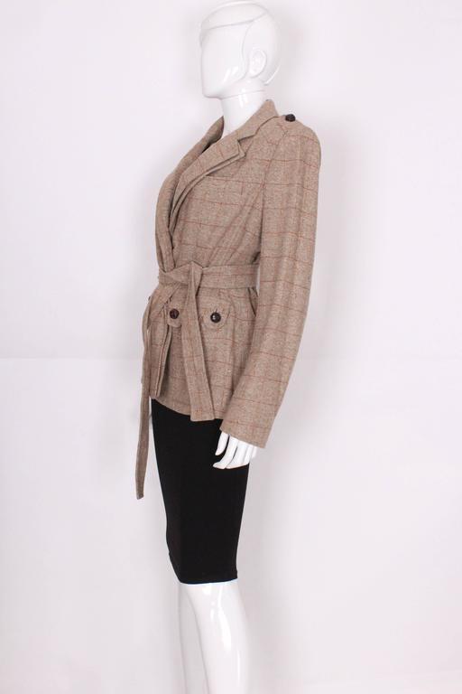 Brown Yves Saint Laurent Linen/Silk Mix Jacket For Sale