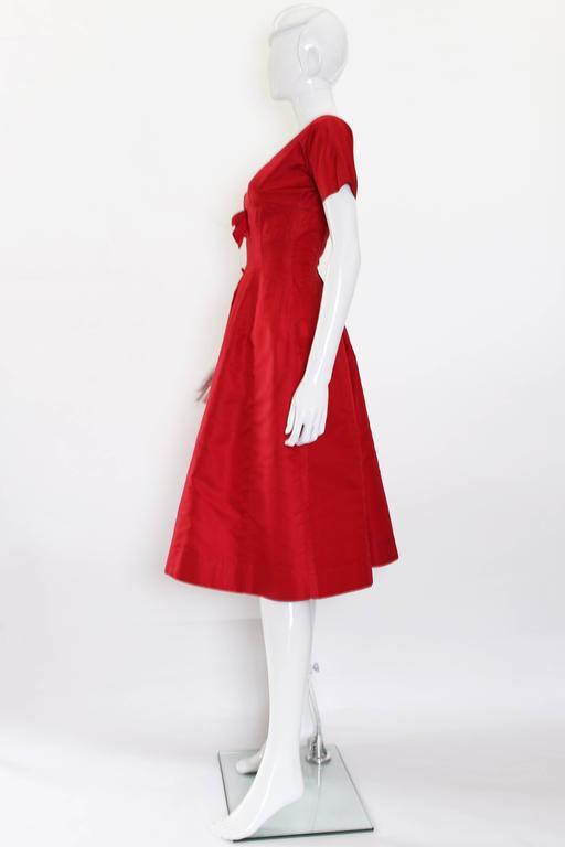 1950s Crimson Red Satin Vintage Prom Style Dress For Sale at 1stdibs