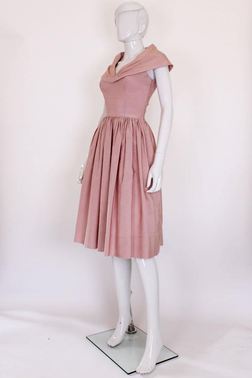 Brown 1950s Dusty Pink Prom Style Vintage Dress For Sale