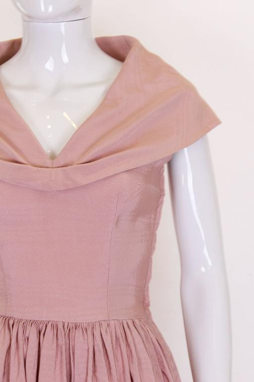 1950s Dusty Pink Prom Style Vintage Dress For Sale 1