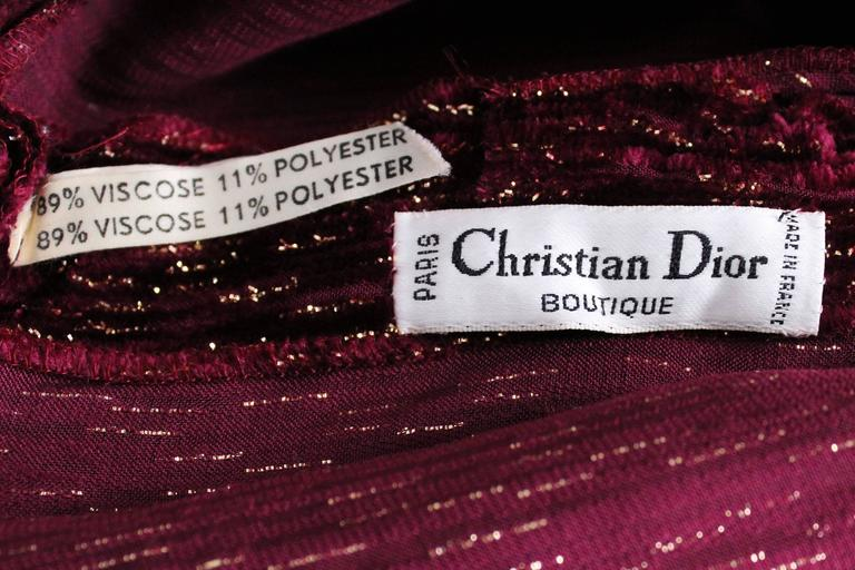 Burgundy Gown by Christian Dior , Boutique Paris For Sale 5