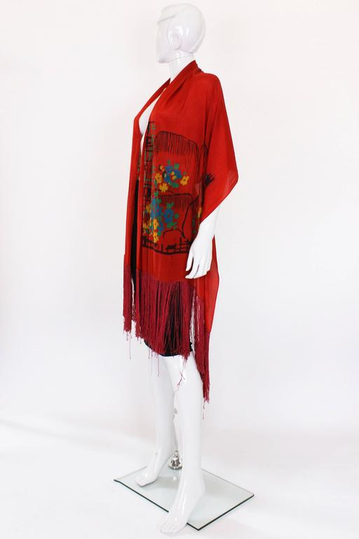 1920s Silk Hand Painted, Fringed Red Shawl 2