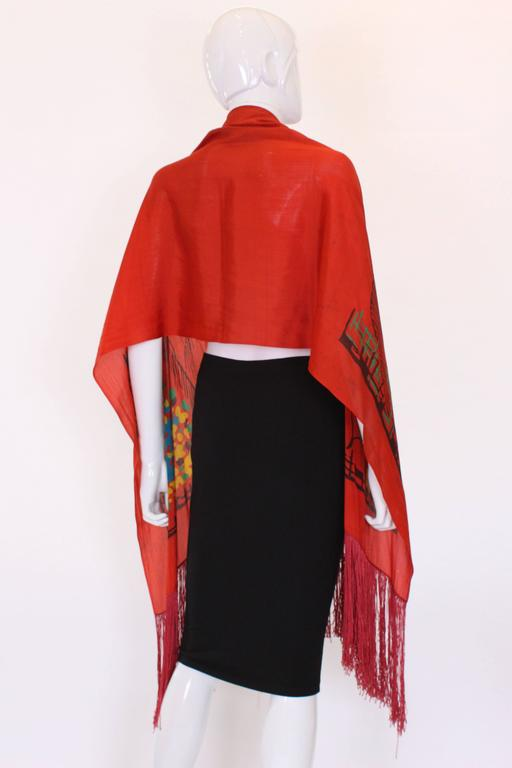 1920s Silk Hand Painted, Fringed Red Shawl 4
