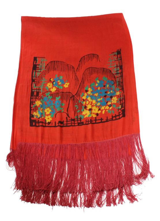 1920s Silk Hand Painted, Fringed Red Shawl 5