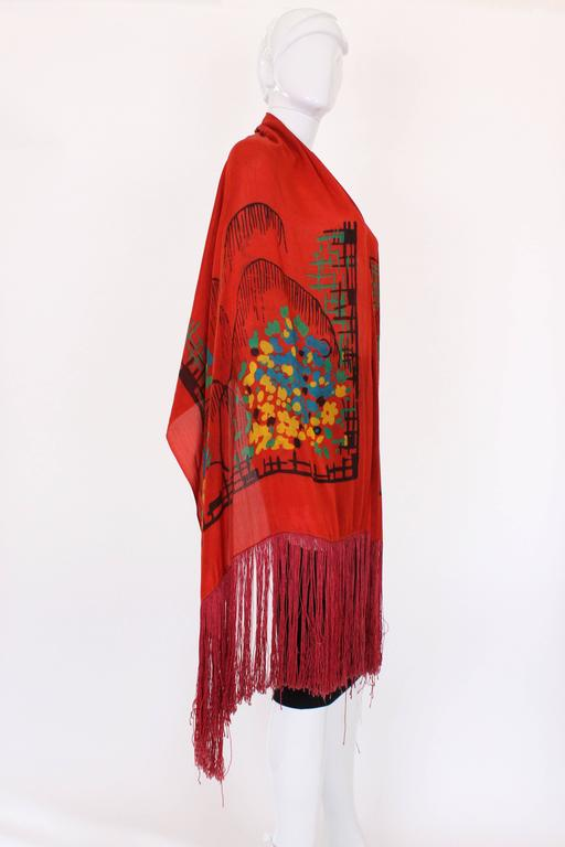 1920s Silk Hand Painted, Fringed Red Shawl 3