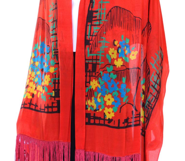 1920s Silk Hand Painted, Fringed Red Shawl 6
