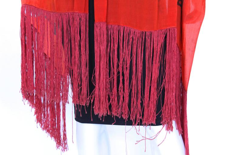 1920s Silk Hand Painted, Fringed Red Shawl 7