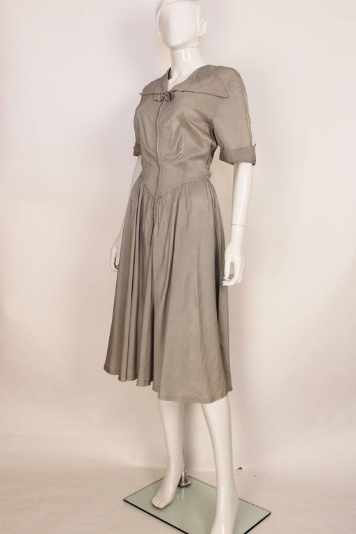 1940s Striped Black and White Silk Tea Dress For Sale at ...
